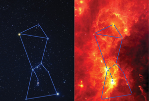 Orion in the Visible and Infrared image