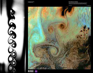 Left image, from Fluid Motion Gallery, courtesy of Walter Goldburg; Right image, from EROS Image Gallery: Earth as Art 2, courtesy of U.S. Geological Survey