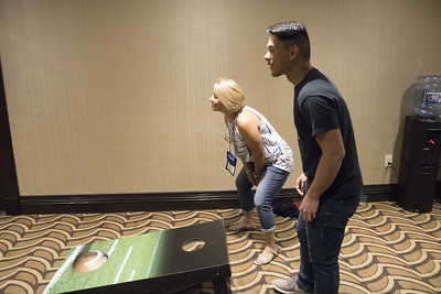 People playing corn hole at the Summer 2018 Meeting in Washington, DC
