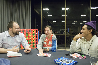 People hanging out at Game Night at the 2019 Winter Meeting in Houston