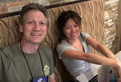 Steve Maier and Alexis Knaub, working on creating the blog during the 2019 summer meeting.