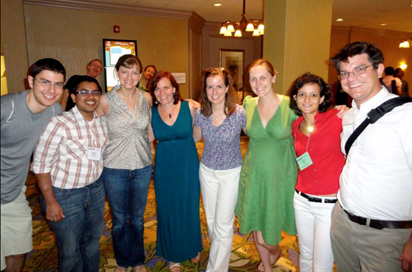 "A subset of ""Affect Gang"" at PERC 2012 in Philadelphia, PA: Brian Danielak, Ayush Gupta, Jennifer Richards, Vashti Sawtelle, Jessica Watkins, Chandra Turpen, Lama Jaber, and Luke Conlin (left to right)"